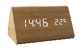 LED Wooden Clock With Date, Alarm & Temperature