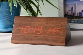 LED Wooden Clock, 150x70x80mm Triangular (SGD32.00)