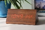 LED Wooden Clock, 150x70x80mm Triangular (SGD32.00)