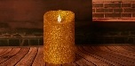 Gloden Glitter Powder Design Flameless Led Candle